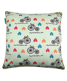 The Crazy Me Cushion Cover Cycle Print - Green