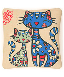 Home Union Polyster Digital Kitty Printed Cushion Cover - Cream