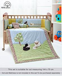 Babyhug Crib Bedding Set Farm Theme Large Pack Of 6 - Light Green