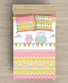 Little Jamun Single Bedsheet With One Pillow Cover Owl Print - Pink