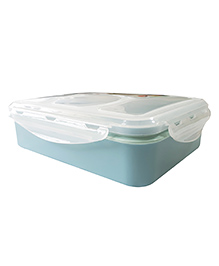 Little Jamun Eco Friendly Lunch Box With Transparent Lid Spoon - Blue