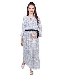 MomToBe Full Sleeves Rayon Maternity Dress Floral Print - White Blue