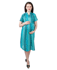 MomToBe Half Sleeves Rayon Maternity Dress Floral Print - Sea Green