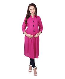 MomToBe Three Fourth Sleeves Solid Color Maternity Kurta - Pink