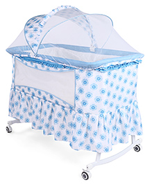 Baby Cradle Cum Rocker With Mosquito Net Floral Print - White Blue