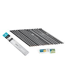 Apsara Extra Dark Pencil Set With Eraser & Sharpener - 22 Pieces