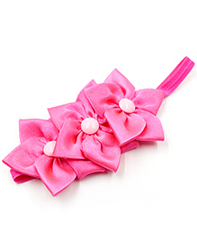 Magic Needles Elastic Hairband With 3 Flowers - Fuschia