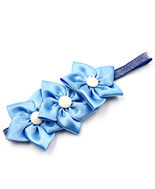 Magic Needles Elastic Hairband With 3 Flowers - Blue