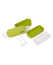 Hoom Lunch Box With Fork & Spoon - Green White