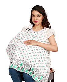 Lulamom Feeding & Nursing Cover Floral Print - Off White Green
