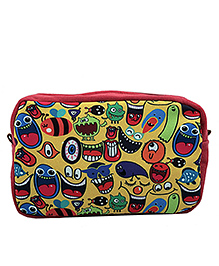 The Crazy Me Quirk Up Print Utility Pouch - Yellow