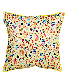 The Crazy Me Cushion Cover Cupcakes Print - Light Yellow