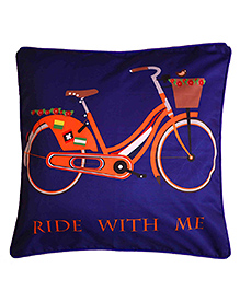 The Crazy Me Cushion Cover Ride With Me Print - Royal Blue