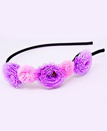 Little Tresses Trio Flowers And Pom Pom Headband - Purple & Pink