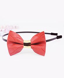Little Tresses Medium Bow Hairband - Dark Peach