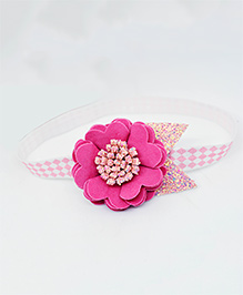 Little Tresses Scalloped Flower With Golden Leaves Soft Band - Pink