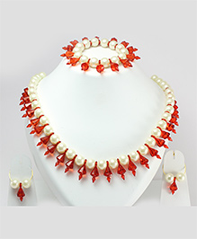 Milyra Crystal & Pearls Necklace With Earrings & Bracelet Set - Off White & Red