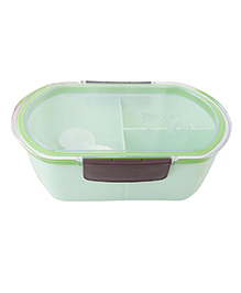Syga Three Grid With Transparent Sealed Plastic Lunch Box - Green