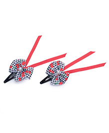 Ribbon Candy Bow Snap Clips Pack Of 2 - Black Red