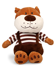 Starwalk Cute Bear Plush Soft Toy With Dungaree Brown White - Height 26 Cm