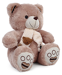 Starwalk Teddy Bear Soft Toy With Muffler And Embroidery Brown - Height 47 Cm