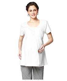 Nine Half Sleeves Maternity Nursing Top - White