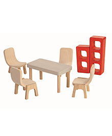 Plan Toys Wooden Doll Dining Room - Multi Color