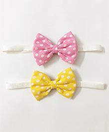 Knotty Ribbons Set Of Two Polka Dots Bow Headbands - Pink & Yellow