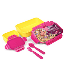 Barbie Lunch Box With Fork & Spoon Sparkle Shine Print - Pink Yellow
