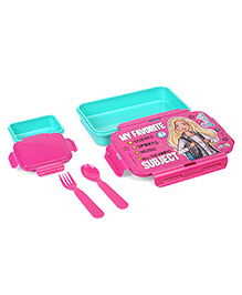 Barbie Lunch Box With Fork & Spoon My Favourite Print - Pink Sea Green