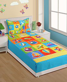 Swayam Airplane Print Single Bed Sheet 1 Pillow Cover - Blue