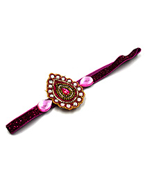 Magic Needles Elastic Ethnic Headband With Multicolor Stones - Dark Pink