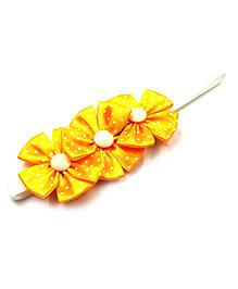 Magic Needles Elastic Headband With Polka Dots Print - Yellow
