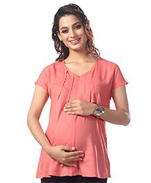 Kriti Short Sleeves Solid Maternity Nursing Top - Pink