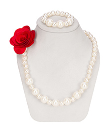 Daizy Pearl & Beads Necklace & Bracelet - White & Red