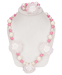 Daizy Pearl Necklace Wih Big Beads & Bracelet - Pink & White