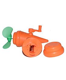 Vibgyor Vibes Manual Hand Fan Cum Sharpener - Orange & Green