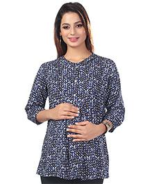 Kriti Short Sleeves Printed Maternity Nursing Top  - Blue