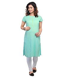 Kriti Half Sleeves Maternity Nursing Kurti - Turquoise Green