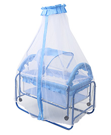 Baby Cradle With Mosquito Net Dot Print - Blue