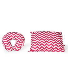 Babyhug Rectangle Supporter & Rectangular Pillow Set Chevron Print - Pink