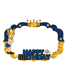 Party Propz Prince Themed Happy Birthday Party Accessory - Blue Golden