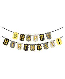 Party Propz Happy Birthday Banner - Black Golden