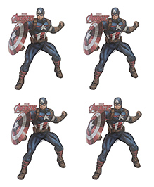 Party Anthem Captain America Wall Sticker Pack Of 4 - Blue