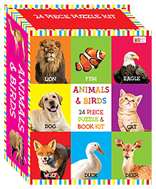 Art Factory Animals & Birds Puzzle & Book Kit Multicolour - Pack Of 24 Pieces