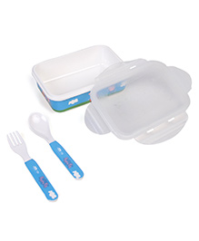 Servewell Peppa Pig Lunch Box With Fork & Spoon - Blue White