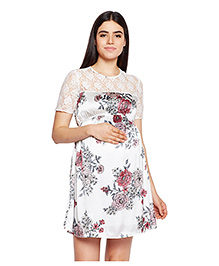 Oxolloxo Half Sleeves A-Line Maternity Dress Floral Print - White
