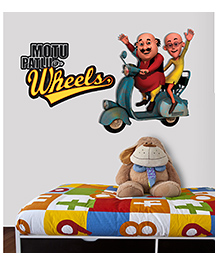 Asian Paints Peel And Stick Motu Patlu Duo On Wheels Wall Sticker Extra Large - Multicolor