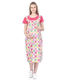 MomToBe Short Sleeves Maternity Dress Checked - Pink