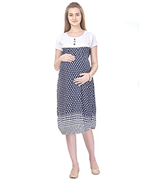 MomToBe Short Sleeves Maternity Dress Diamond Print - Blue